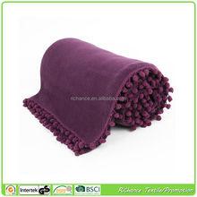 microfiber polar fleece banket 100% polyester polar fleece plaid,with tassel on end of polyester fleece plaid blanket