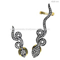 14k diamante ouro manguito orelha jóias brincos, 925 prata esterlina diamante moda orelha algemas, jóias artesanais