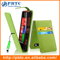 Set Screen Protector Stylus And Case For Nokia Lumia 820 , Green Wallet PU Leather Cell Phone Case