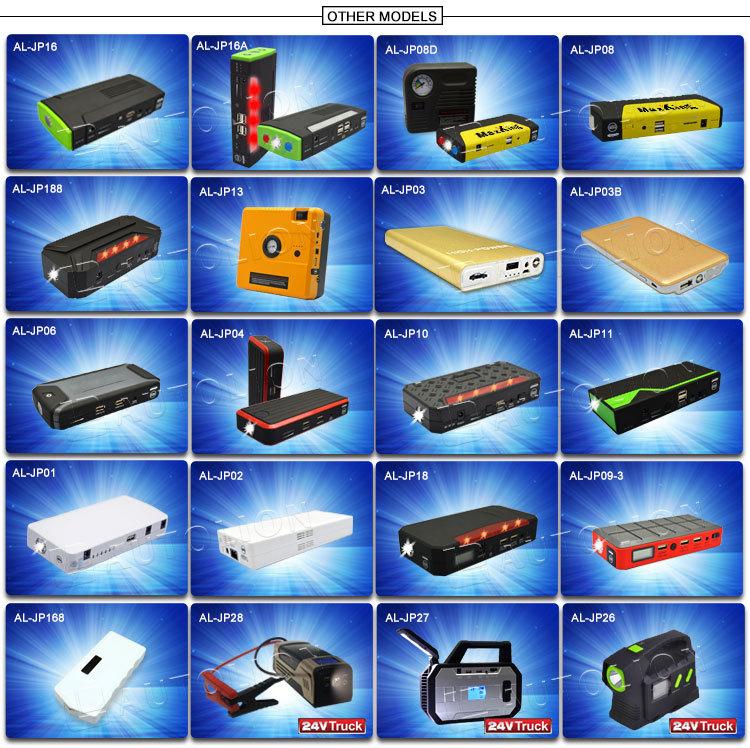New product 2015 12v car battery jumper multi-function jump starter portable power bank for cars phones laptop