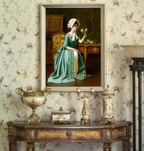 Wall art frameless painting Canvas art work beautiful women oil painting. flower backdrop canvas flower oil painting