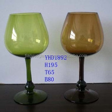 Dark Green Long Stem Wine Glass, Colored Glass Stemware, Amber Color Wine Glass