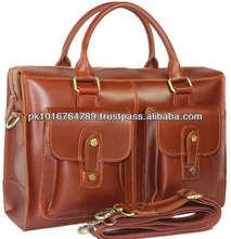Genuine Leather Briefcase Men's 15'' Laptop Case Shoulder Messenger Bag