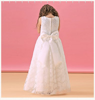Wholesale New Model Flower Girls Lace Dress Elegant White Long Puffy Dress For Girls