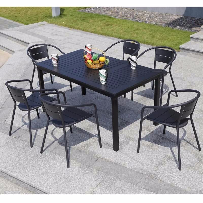 outdoor dining set plastic wood table and chairs cheap restaurant furniture ps015 buy square. Black Bedroom Furniture Sets. Home Design Ideas