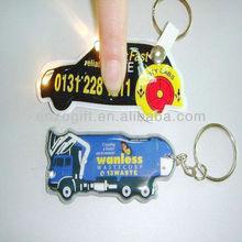 LED keychains, reflective PVC keychain with light, promotion plastic key ring