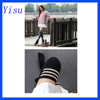 New Fashion Women Ladies Girl Striped Knee High Stocking Cotton Stripes Dance Team School Sports Stocking