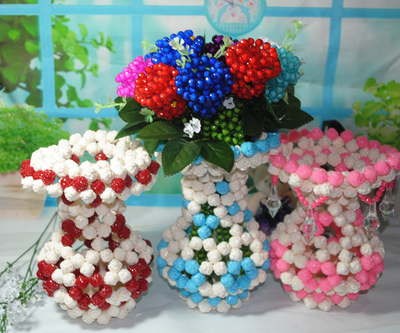Beautiful Wedding Stage Decoration Crystal Beads Flowers And Vase