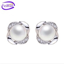 AAA natural lavender color freshwater pearl stud earring