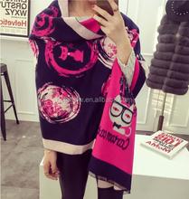 HOT New Arrival Fashion Cute Cartoon Cat Knitting Warm Acrylic Tassel Brand Pashmina Scarf for Women