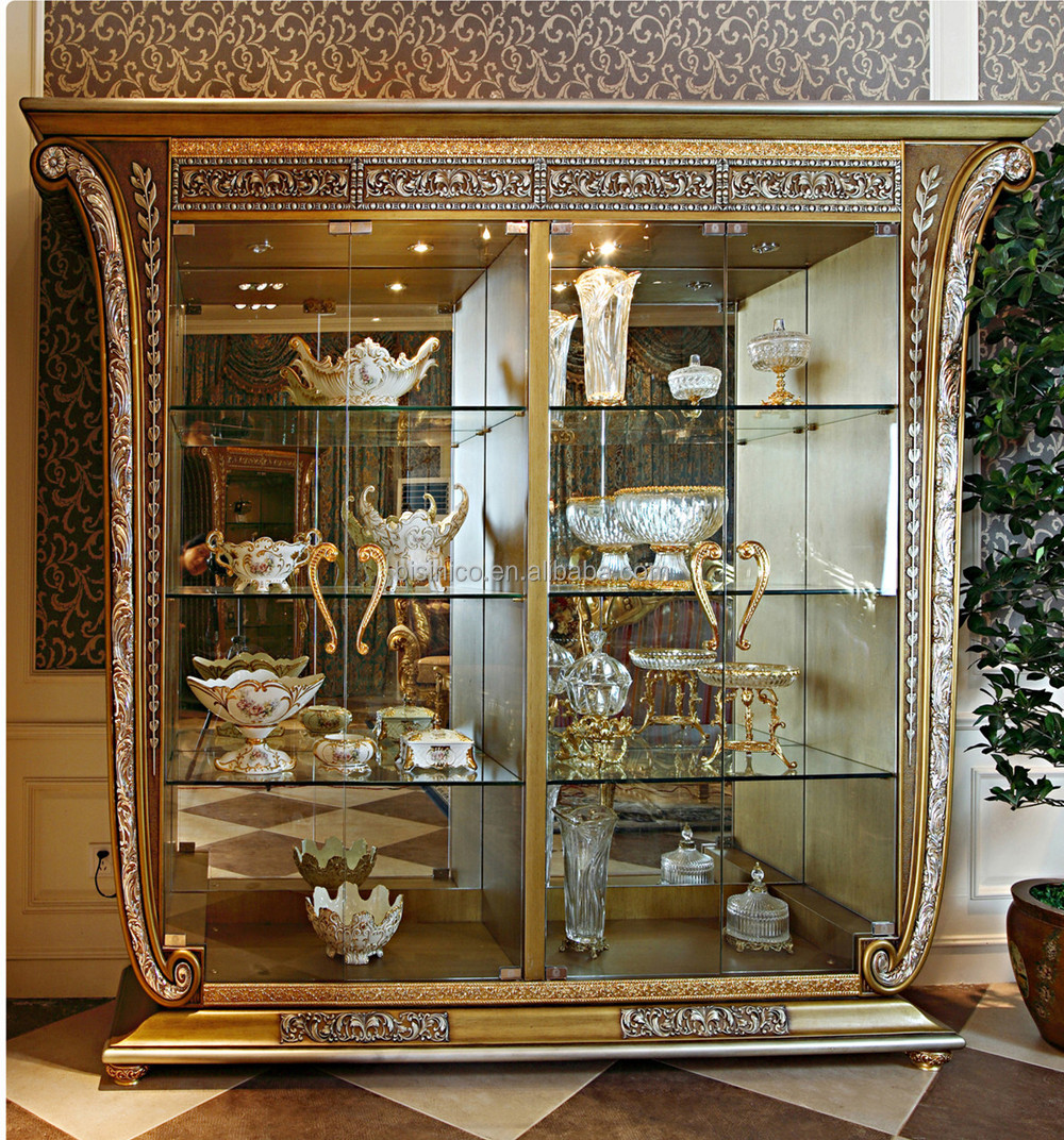 Luxury French Baroque Style Golden Four Door Glass Display Cabinet