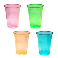 Disposable Soft Plastic Assorted Neon 16-Ounce Party Cups/Pint Glasses