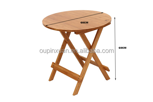 best round folding dining table bamboo garden kitchen