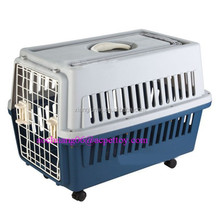 Large plastic pet carrier on wheels