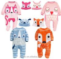 New Baby Newborn cartoon winter Rompers Clothes Bodysuit Jumpsuit Hat Sets 0-24M
