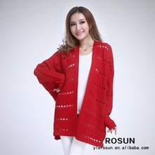 Red Open Knit Cardigan Women Winter Sweater 2012