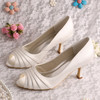 Plain Ivory Wedding Shoes Wholesale Mid-Heel