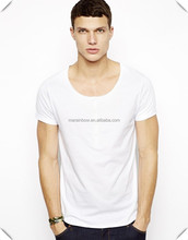 men's fashion wide scoop neck white tee ,Wholesale cheap white t shirt, 95% cotton 5% spandex thin soft t shirts made for men