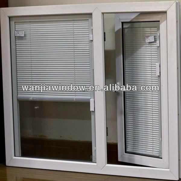 Foshan wanjia factory upvc casement window with blinds for Best blinds for casement windows