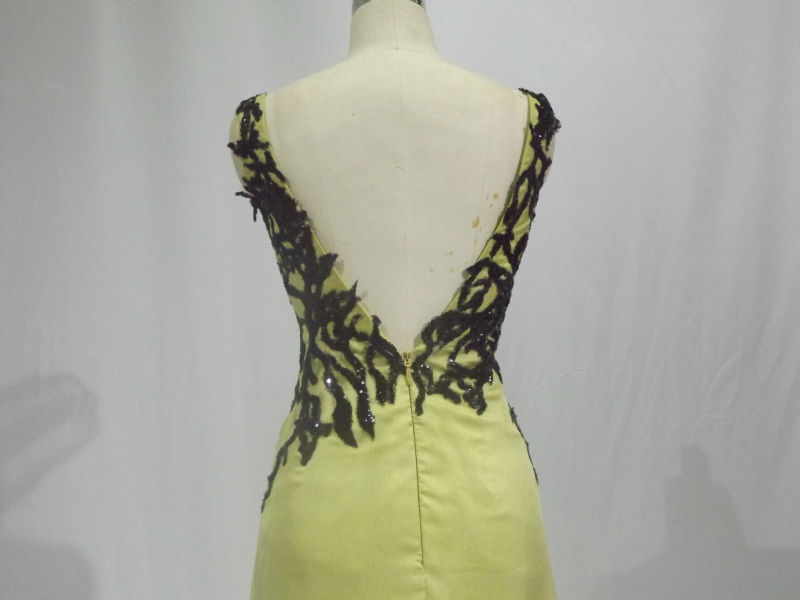 Yellow Lace Evening Gowns evening dress sexy 2015