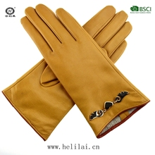Yellow High Quality Sheep Leather Gloves Women with Metal Decration/Chain