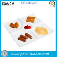 Modern ceramic square white compartment/divided snack plate dessert dish dishes for appetizers