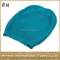Custom cheap plain pom pom blue/pink/green color beanie knitted women winter hat