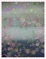100% polyester floral embroidered silk organza fabric