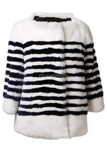 YR692 Winter fashion designed rabbit fur black and white twill color coat