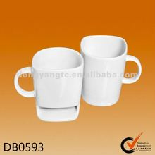 Factory direct wholesale ceramic mug with biscuit holder
