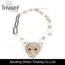 2015 New fashion leopard head big alloy chain necklace wholesale