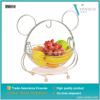 Cartoon bear design metal fruit basket with silver liner