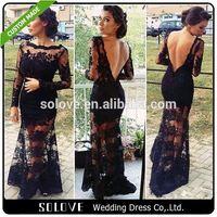 V Back Black designer evening dress patterns 2014 From China