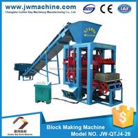 JW-QTJ4-26 machinery for concrete blocks, advanced technology in small business,semy automatic block making machine
