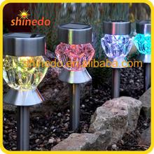 new design stainless steel colourful solar garden light