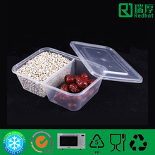 White Bottom Two Compartment Food Container/Divided Lunch Box 650ml