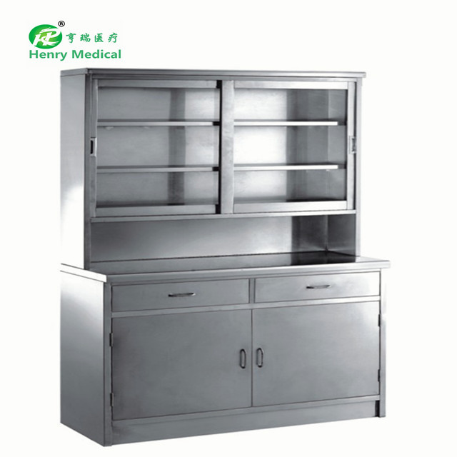 Medical apparatus and instruments metal storage with galss door cabinet