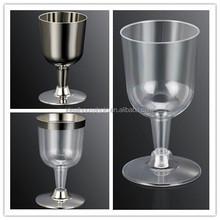5OZ Disposable Plastic Silver Wine Cup,Plastic Champagne Cup, Plastic Looks Glass Wine Cup