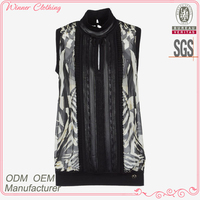 Pleated 2015 high quality fashion garment manufacturer neck design of blouse for women