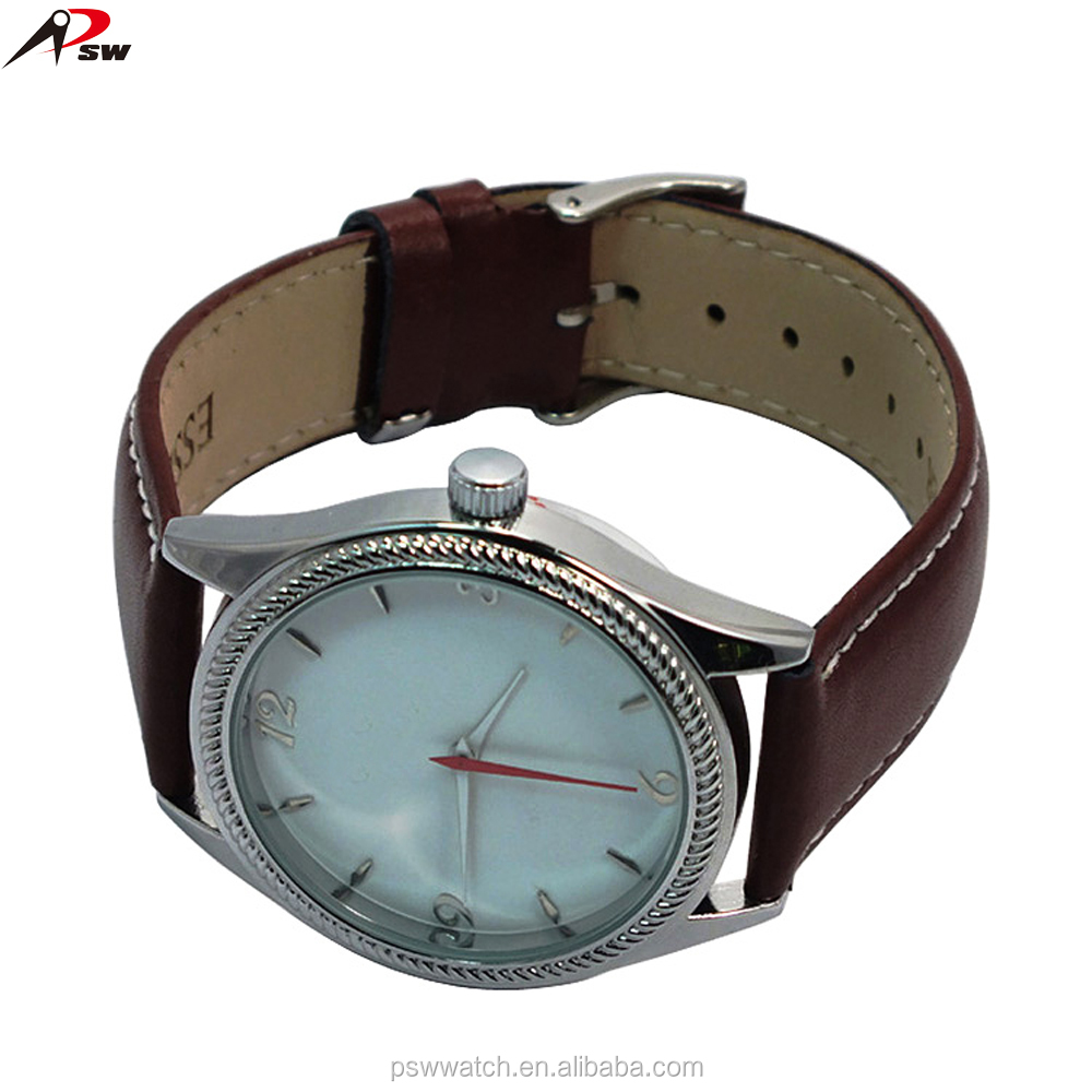brown colour band white face red hands quartz beautiful leather lady watch