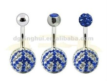 Body Piercing Double Gem Crystal Navel Belly Ring