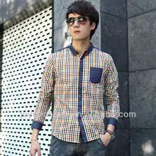 The new 2014 han edition cultivate one's morality men's long sleeve shirt grid