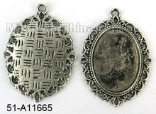Jewelry 40*29mm zinc alloy antique oval blank cabochon setting