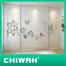 2014 new arrival professional butterfly image wardrobe aluminium sliding door wheels