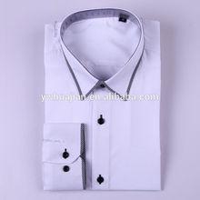 moda 2014 delgado de color sólido de los hombres camisa de vestir con el único diseño de cuello