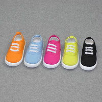 2016 New Spring Sweet Solid Color Children's Canvas Shoes Slip on cotton fabric Kid Shoes, Factory direct sale Girls Canvas Shoe