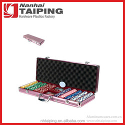 Fashion Pink Abs Aluminum 2000 Poker Chip Case