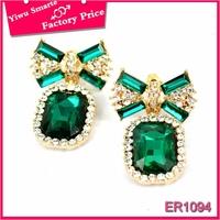 Lebanon 2016 cheap sale bowknot earrings trendy crystal stud earrings women with green stone free shipping