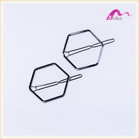 Unique Designer Simple Metal Rectangular Rhodium Hair Clips Grips For Girls Long Yellow Hair Accessories Gifts