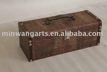 Wooden wine box with handicrafts